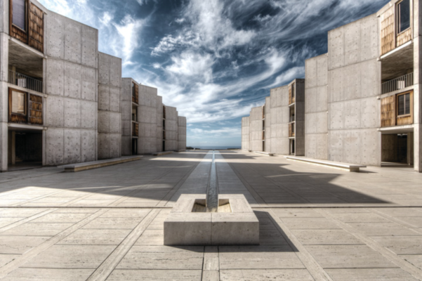 Towers housing the Institute's research laboratories mirror each other across the expanse of a large paved expanse. Image courtesy of the Salk Institute.