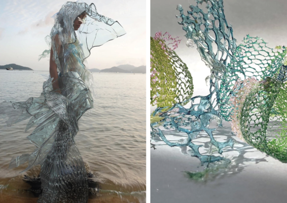 Left: Garment made from biodegradable materials (algae extract and silk cocoon protein) awarded @lvmh @maisonzero Green Trial Prize and @themillshk Sustainability Prize. Right: Physical Bio Serpentine Lace