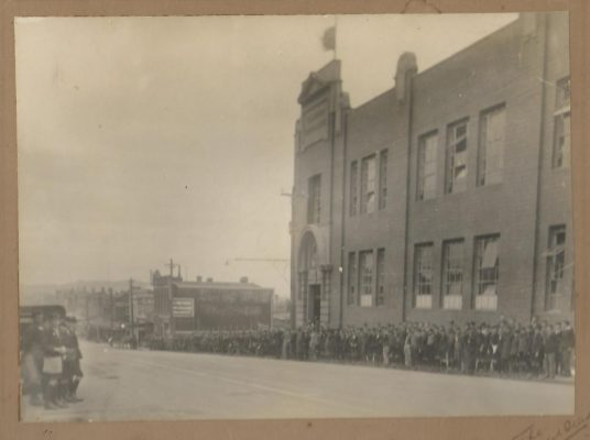 Guard of Honour by students in front of Collingwood Technical School for the 1931 funeral of Founding Board Member David Provan.