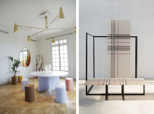 Left: Soap Table photographed by David Stjerholm, Pim To. Right: Burberry x OC installation photographed by Floor Knaapen